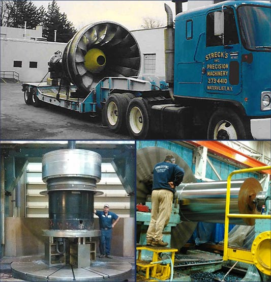 collage of Strecks' precision machinery truck and two pieces of equipment